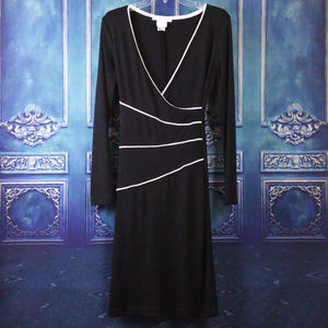 VTG La Belle L Long Sleeve Dress Black White Midi